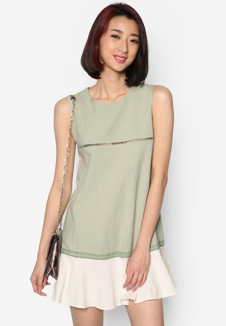 Sleeveless Dress with Layered Hem