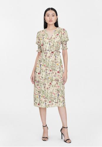 Pomelo beige Midi Floral Surplice Wrap Dress - Cream AFC6EAA5CBE932GS_1