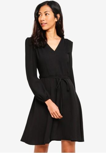 ZALORA BASICS black Basic V-Neck Long Sleeves Dress 00D5AAA6FCFA1DGS_1