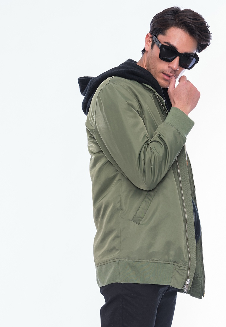 Long Alik Olive Style Zip Alpha Bomber up n6Ex6
