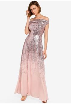fcc14227c Goddiva pink Pleated Bodice Sequin And Chiffon Maxi Dress 88F53AA5B69EE5GS 1