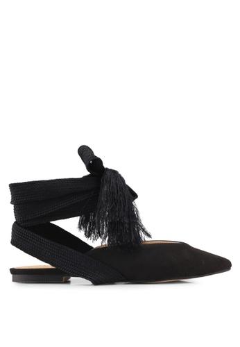 ZALORA 黑色 流蘇綁帶穆勒鞋 58355SH67EC2C0GS_1
