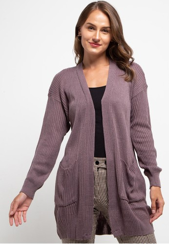 LLACES CLOTHING purple Knit Long Cardigan FCA50AAA844E1BGS_1