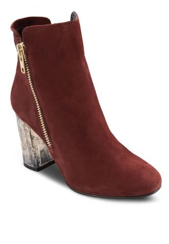 側拉鍊銀飾粗跟高zalora 衣服尺寸跟皮靴, 女鞋, 鞋