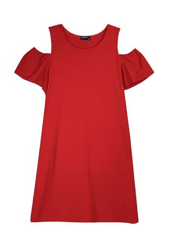 Cheetah red Cheetah Ladies Short Sleeve Cold Shoulder Dress - CL-19606 80198AA9D9FBE6GS_1