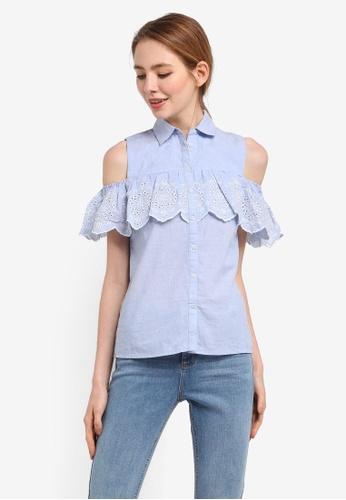 Dorothy Perkins blue Chambray Cold-Shoulder Shirt C7383AAB3CB6BBGS_1