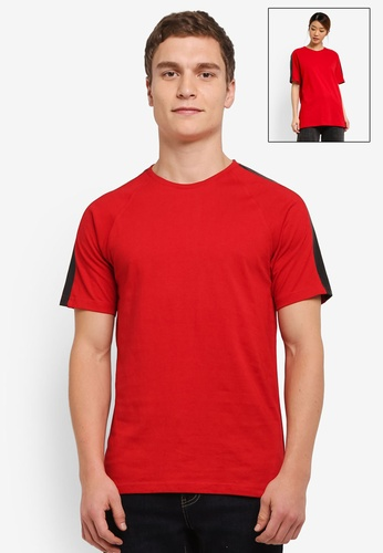 UniqTee red Contrast Shoulder Patch Short Sleeve Tee UN097AA0SHD1MY_1