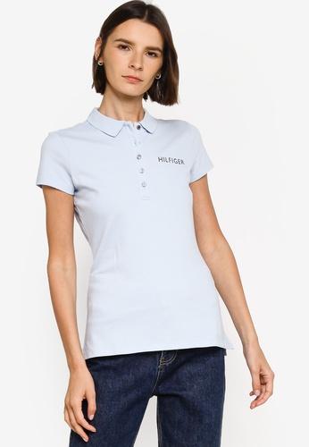 Tommy Hilfiger blue Slim Hilfiger Crystal Polo Shirt 09A5FAAFB6E31AGS_1