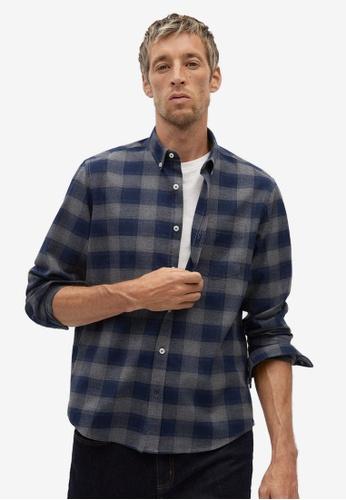 Mango Man blue Regular Fit Check Cotton Shirt CD18BAA8DE2119GS_1