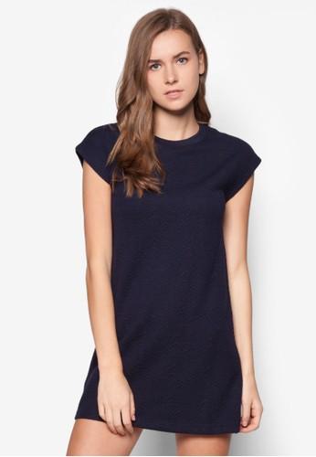 短袖暗紋直筒連身裙, 服飾,zalora 泳衣 正式洋裝