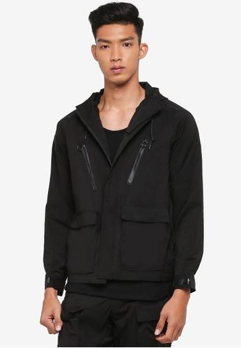 AT TWENTY black Contrast Zip Hooded Jacket EC9B8AAB219B03GS_1