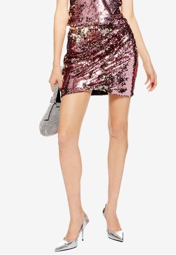 TOPSHOP pink Pink Sequin Drape Mini Skirt 8CA49AA9EEE0A3GS_1
