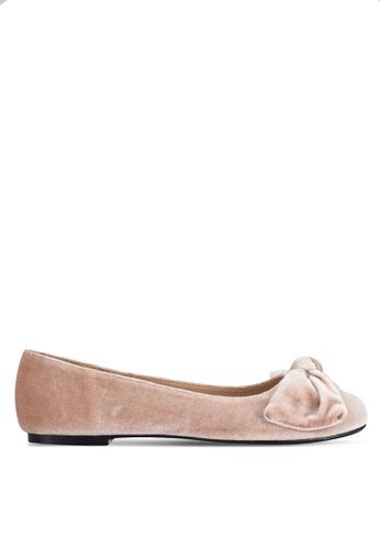 Velvet beige Velvet Ballerinas with Bow 8354DZZD37C08EGS_1