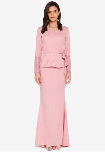 Lubna pink Kimono Wrap Kurung Lace 860C8AA48D1B8CGS_1