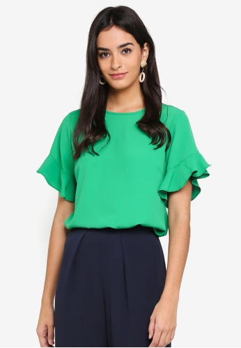 Dorothy Perkins green Green Frill Sleeve Top A5D6BAAE07C9E0GS_1