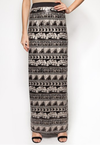 Aztec zalora 心得 pttSequin Straight Skirt, 服飾, 長裙