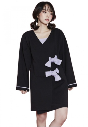 A X A black Ribbon Wrap Dress AX230AA75CDKSG_1