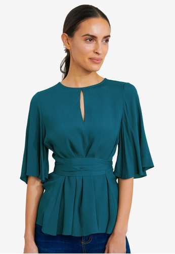 FORCAST green Coral Bell Sleeve Tie Waist Blouse 9509BAAA06C171GS_1