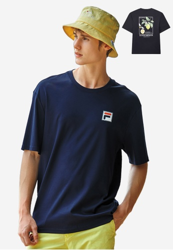 FILA navy F-box Logo Dropped Shoulders Cotton T-shirt 1375BAA08A70ACGS_1