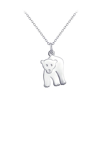 Glamorousky silver 925 Sterling Silver Simple Cute Bear Pendant with Necklace 9336AACF48F041GS_1