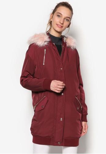 毛絨邊飾飛行風衣外套, 服飾, 防風外套 &ampzalora 順豐; 罩衫