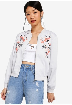 00e4829dc92c Something Borrowed grey Cropped Embroidered Bomber Jacket A4123AADEC15A0GS 1