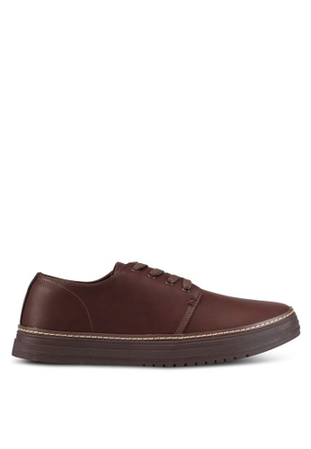 ZALORA brown Faux Leather Laced Up Sneakers with All Around Trim 02B84SH2874CDBGS_1