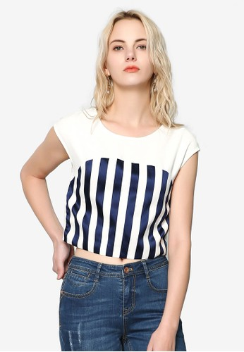 Hopeshow white Striped Top 381EBAA08E120EGS_1