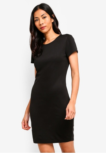 ZALORA BASICS black Basic Cap Sleeves Bodycon Dress 21D52AA73B6AF4GS_1