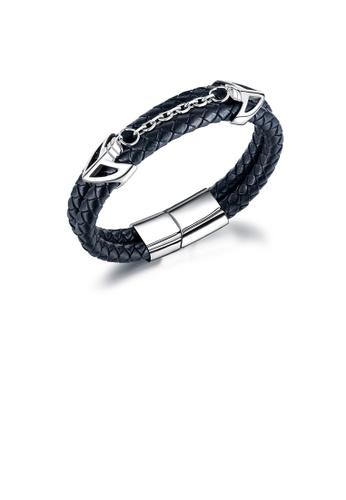 Glamorousky silver Fashion Personality Anchor Steel Titanium Leather Long Bracelet 68F34AC08A61B5GS_1