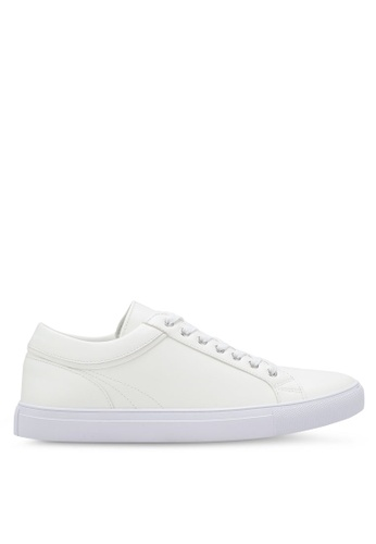 ZALORA white Faux Leather Sneakers with Trim Detail 497F3SH0386D48GS_1