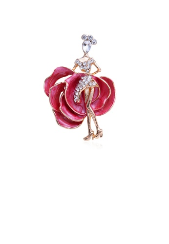 Glamorousky white Fashion Temperament Plated Gold Red Skirt Ballerina Brooch with Cubic Zirconia 5534AAC03E1799GS_1