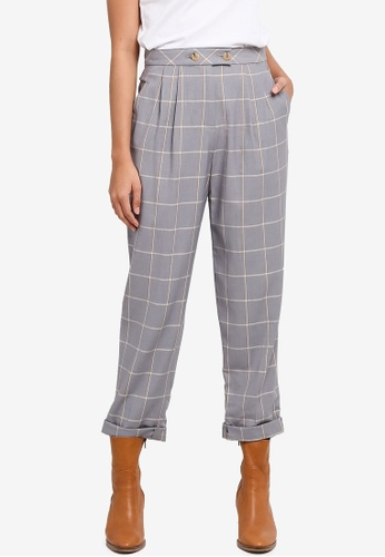 TOPSHOP grey Checked Tapered Leg Trousers 47913AA9EBB5FFGS_1