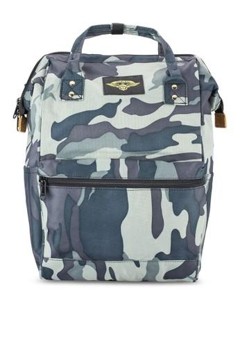 zalora 衣服尺寸日式時尚迷彩布料後背包, 包, 包