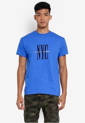 River Island 藍色 Nyc T-Shirt 24A51AAA9E38ECGS_1