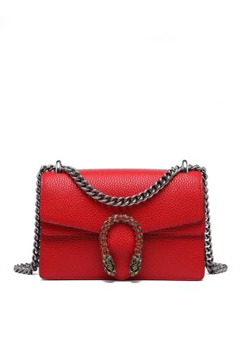 Twenty Eight Shoes red VANSA Fashionable Lock Chain Crossbody Bag VBW-Cb80328 BE489ACE8E716FGS_1