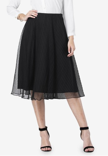 FabAlley black Dotted Mesh Pleated Skirt 29FB6AAB4341DEGS_1