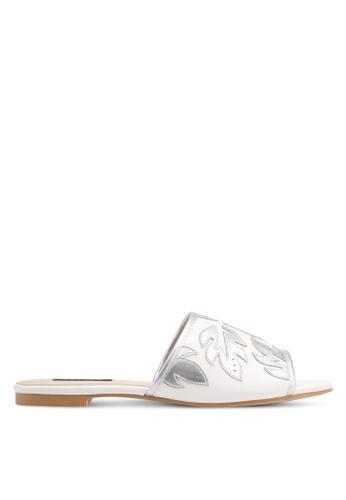 ZALORA white Leaf Detail Slip-On Sandals A804DSHC519AC8GS_1