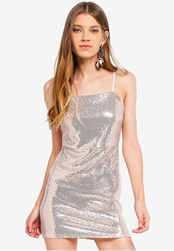 c81986ddb19f Miss Selfridge gold Petite Gold Sequin Square Neck Dress B5E4DAAE0B4DCDGS 1