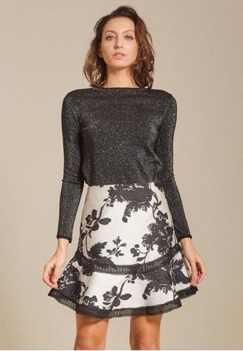 Dressing Paula black Ruffled Jacquard Mini Skirt 97028AA1134271GS_1