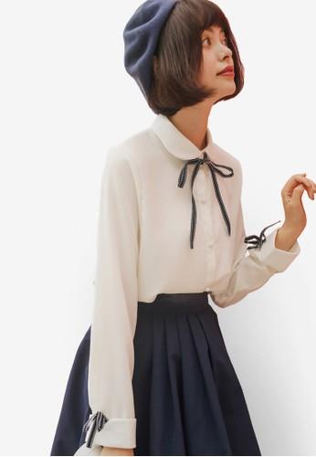 Shopsfashion white Tie A Bow Cuffed Shirt A2409AA4AC8062GS_1
