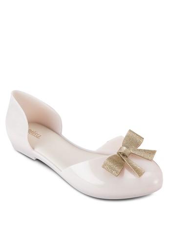 Angel 蝴esprit 會員卡蝶結側鏤空果凍平底鞋, 女鞋, 鞋