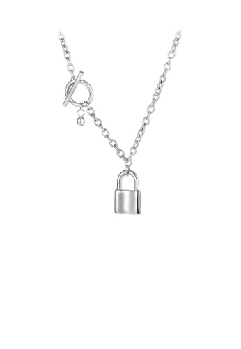 Glamorousky silver Fashion Simple Lock 316L Stainless Steel Pendant with Necklace EAD34ACF7EEE7AGS_1