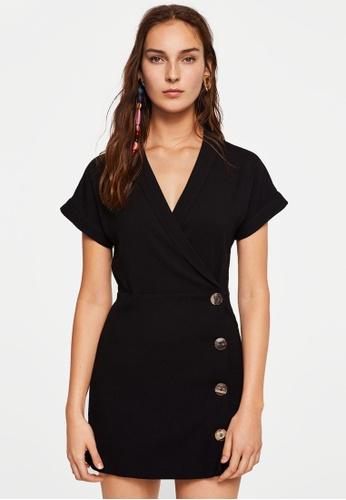 Mango black Short Buttoned Dress C39DDAAAF9F1E9GS_1