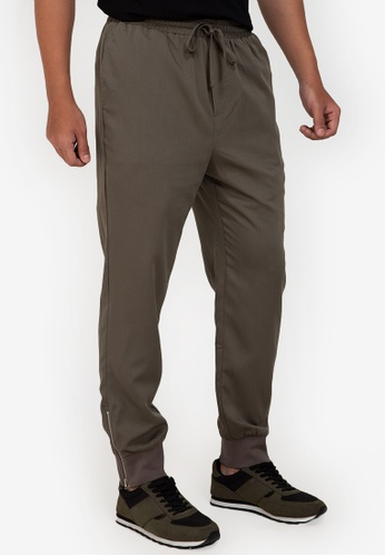ZALORA BASICS green Side Zip Jogging Pants 6C264AAEC742EEGS_1