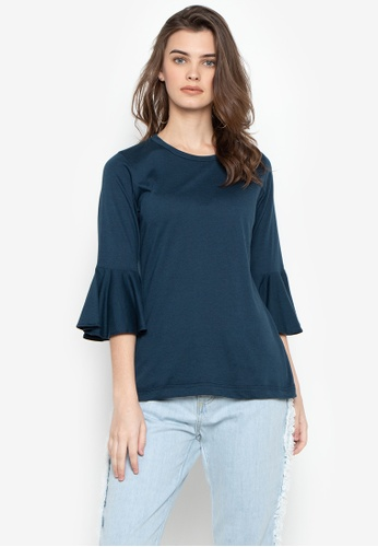 moondaze blue Riley Bell Sleeves Round Neck Top 98C9EAACF48723GS_1