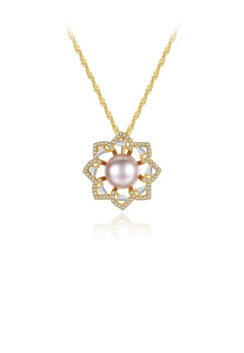 Glamorousky white 925 Sterling Silver Plated Gold Fashion Elegant Flowers Purple Freshwater Pearl Pendant with Cubic Zirconia and Necklace 71724AC0206E3EGS_1