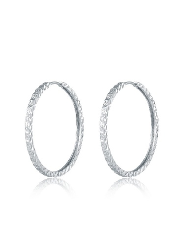 MaBelle silver 14K 585 White Gold Diamond Cut Hoop Earrings 1CA9CAC187041BGS_1
