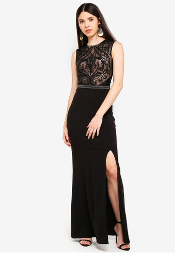 00306a07b647 Shop Lipsy Black Nude Sequin Maxi Dress Online on ZALORA Philippines