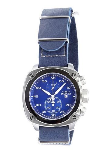 Invicta blue and silver Invicta Aviator Men 54mm Case Blue, Ivory Leather Strap Blue Dial Quartz Watch 19433 IN968AC0F5GQSG_1